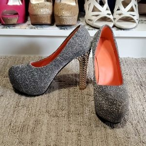 Silver sparkly high heel